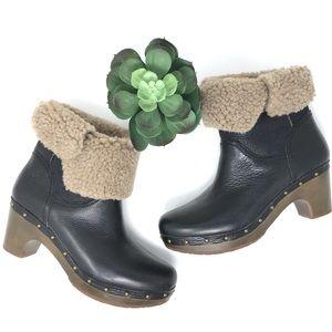 UGG Leather Sherpa Style Clog Platform Boots